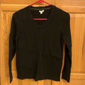 Black Sonoma cable knit sweater.